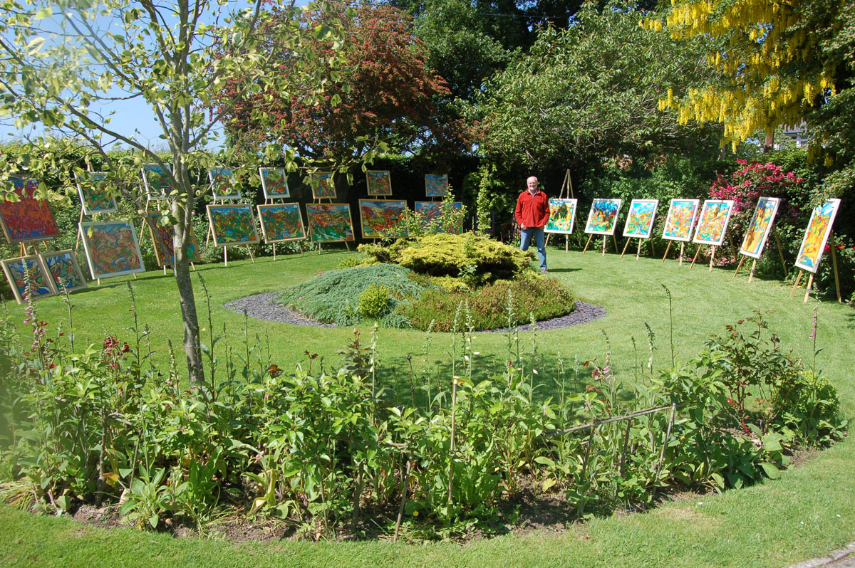 David Brightmore showcasing his artwork in his home garden